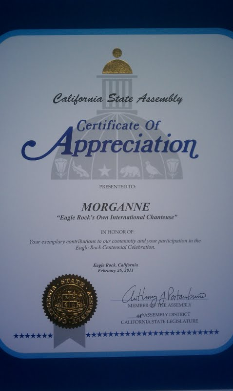 Morganne California Legislature Certificate